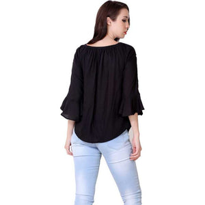 Women Black Embroidered Straight Top