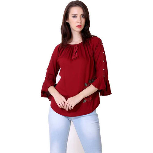 Women Maroon Embroidered Straight Top