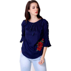 Women Dark Blue Embroidered Straight Top