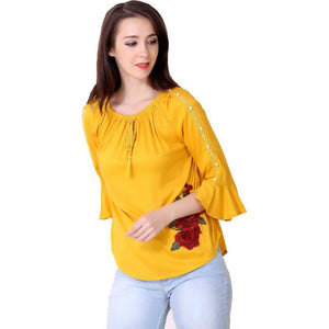 Women Yellow Embroidered Straight Top