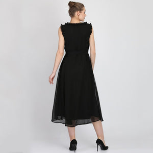 Women Georgette Maxi Black Dress