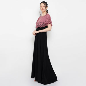 Women Crepe Maxi Black Dress