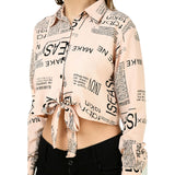 Women Pink Newspaper Print Crop Top