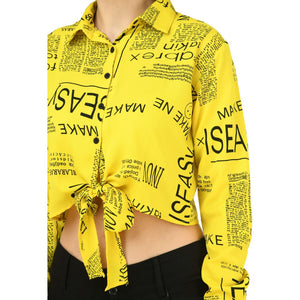 Women Yellow Newspaper Print Crop Top
