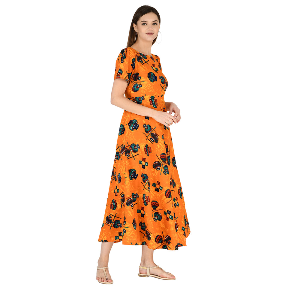 Women Crepe Maxi Orange Dress
