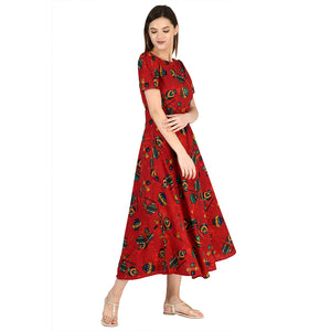 Women Crepe Maxi Red Dress