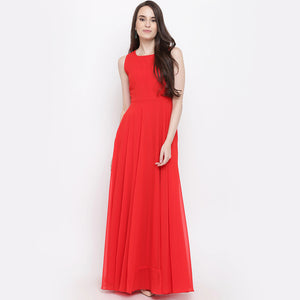Women Georgette Maxi Red Dress