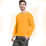 Men Yellow Solid Round Neck T-shirt