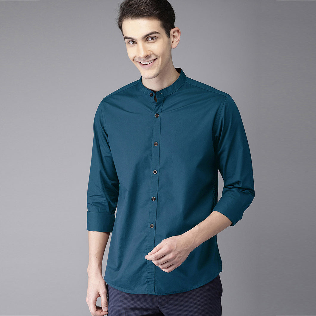 Men Solid Casual Mandarin Shirt (Blue)