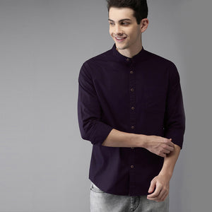 Men Solid Casual Mandarin Shirt (Purple)