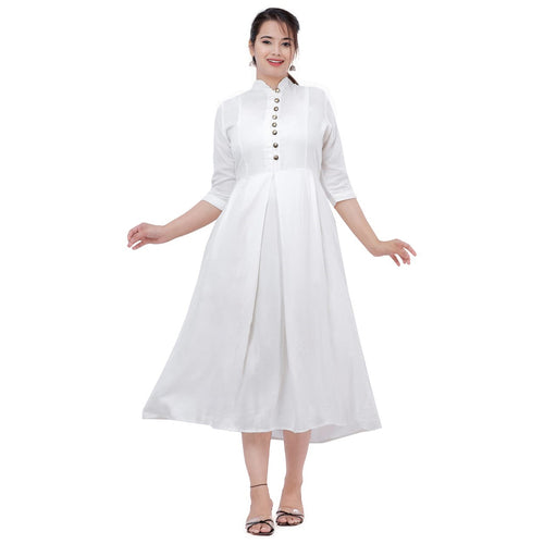 Women Solid Rayon Flared Kurti (Off White)