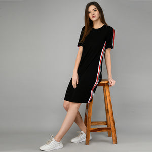 Women Cotton Shift Black Dress