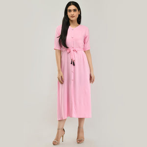 Women Solid Rayon Indo Western Kurti (Pink)