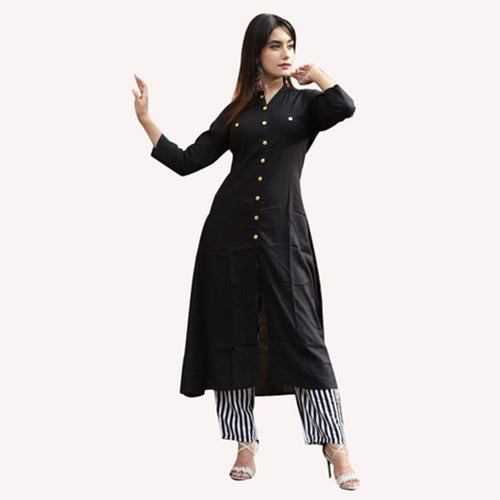Women Solid Rayon Straight Kurti With Palazzo (Black)