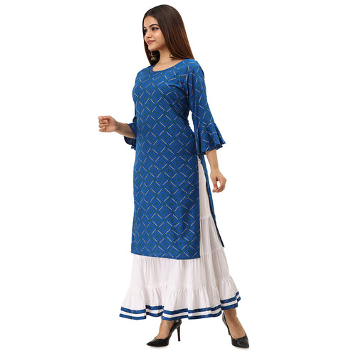 Women Bandhej Print Rayon Straight Kurti With Sharara (Dark Blue)