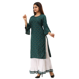 Women Bandhej Print Rayon Straight Kurti With Sharara (Dark Green)