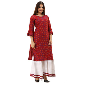 Women Bandhej Print Rayon Straight Kurti With Sharara (Maroon)