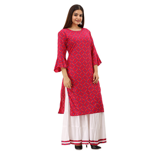 Women Bandhej Print Rayon Straight Kurti With Sharara (Pink)