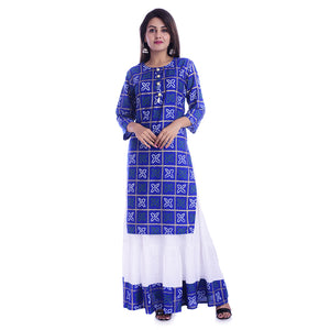 Women Bandhej Print Rayon Straight Kurti With Skirt (Dark Blue)