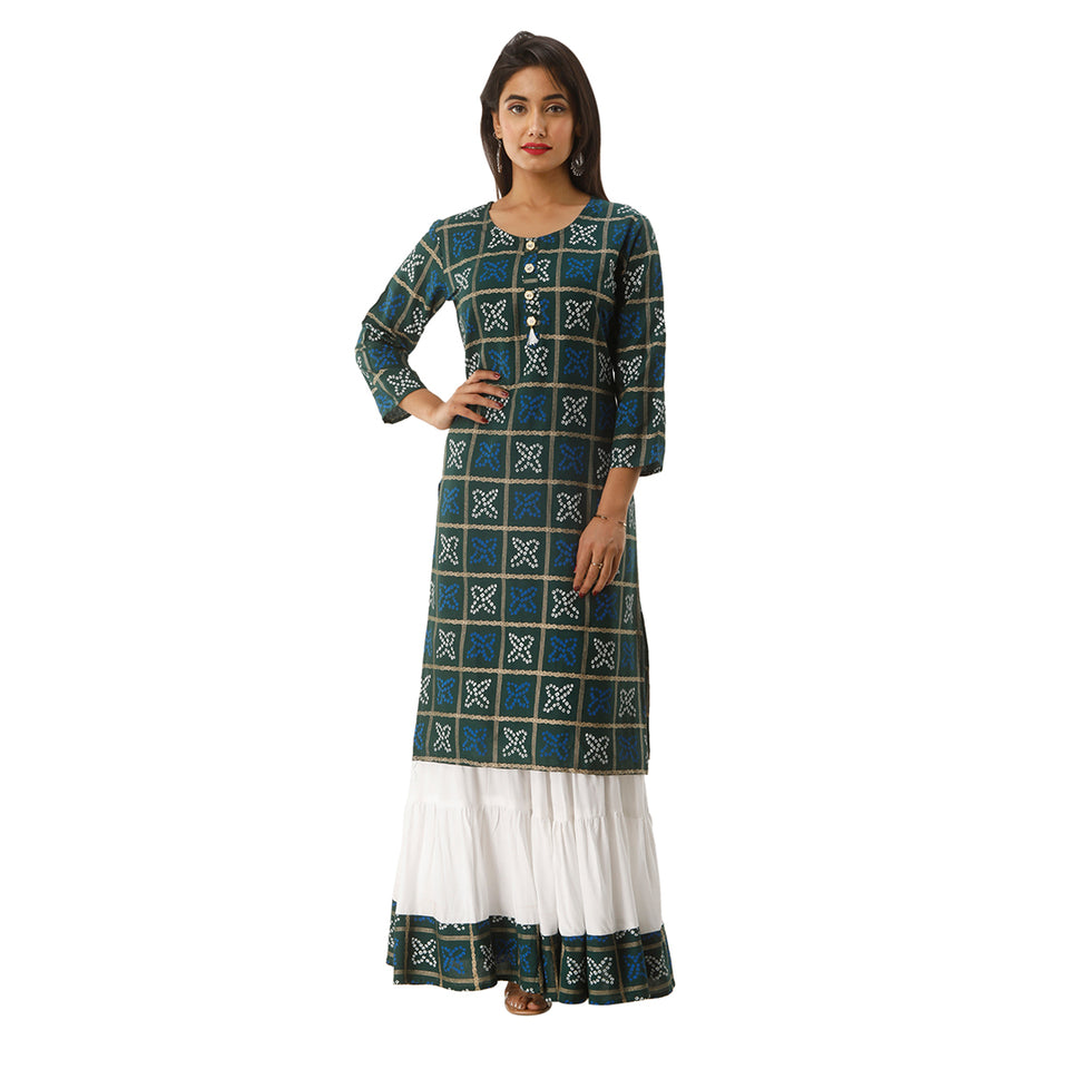 Women Bandhej Print Rayon Straight Kurti With Skirt (Green)