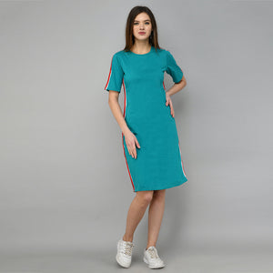 Women Cotton Shift Turquoise Dress