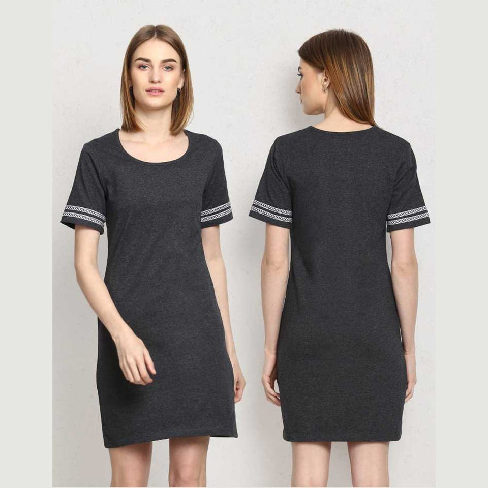 Women Crepe Shift Grey Dress