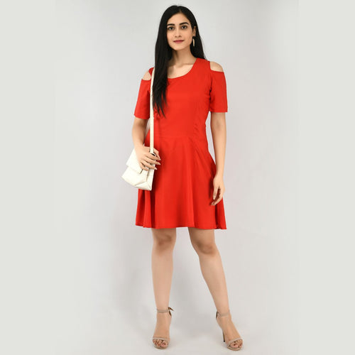 Women Cotton Cold Shoulder Red Dress