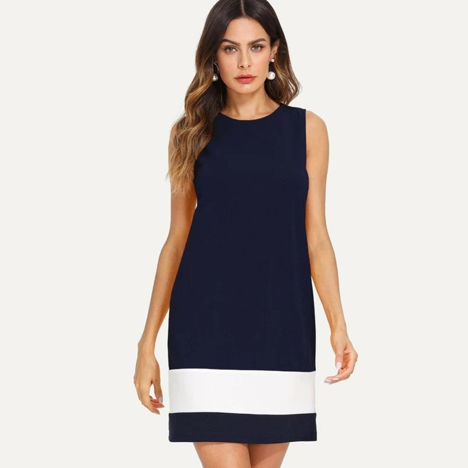 Women Cotton Sheath Dark Blue Dress
