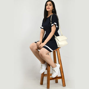 Women Cotton A-line Navy Dress