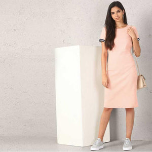 Women Crepe T Shirt Pink Dress