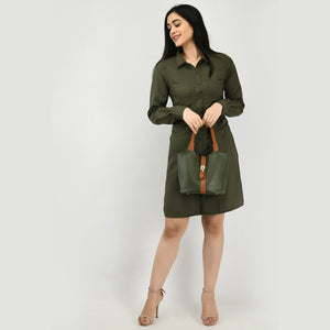 Women Crepe Shirt Dark Green Dress