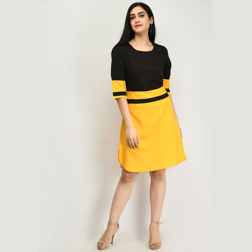 Women Crepe Shift Yellow Dress