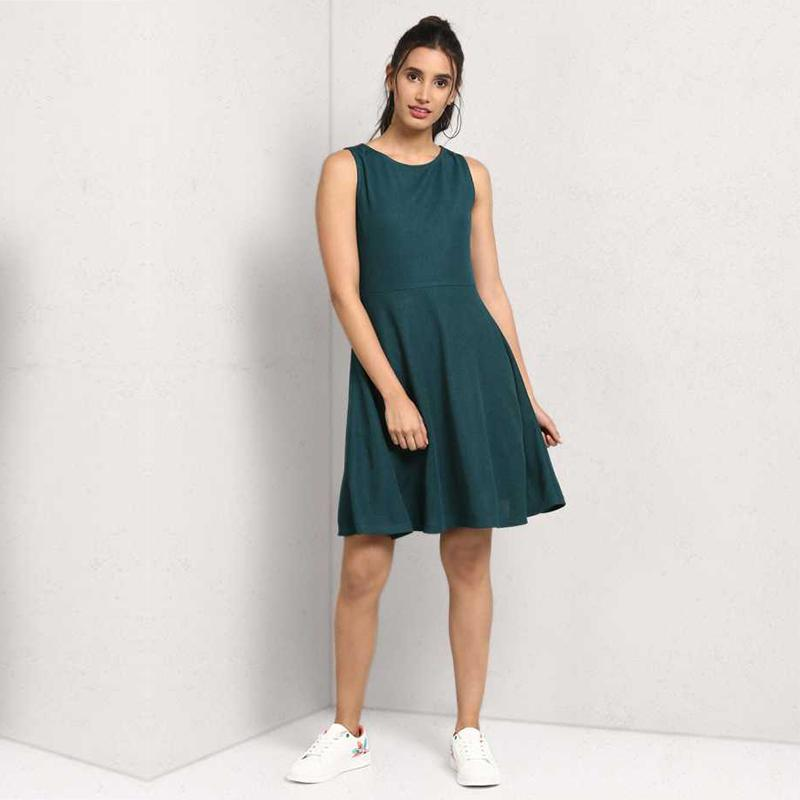 Women Crepe Fit and Flare Dark Green Dress