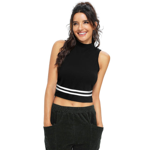 Women Black Solid Cotton Crop Top
