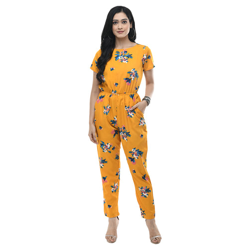 Women Yellow Printed Crepe Basic Jumpsuit