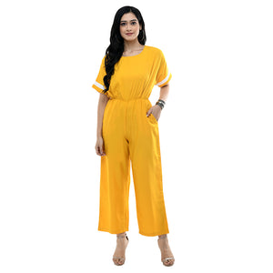 Women Yellow Solid Crepe Basic Jumpsuit