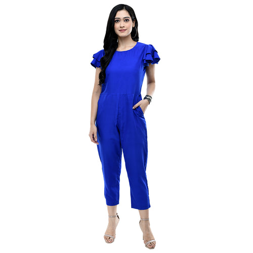 Women Dark Blue Solid Crepe Basic Jumpsuit