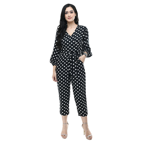 Women Black Polka Printed Crepe Basic Jumpsuit