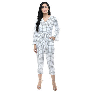 Women Black & White Striped Crepe Basic Jumpsuit