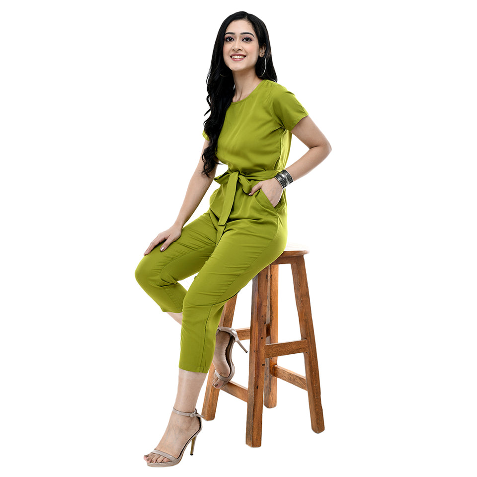 Women Light Green Solid Crepe Basic Jumpsuit
