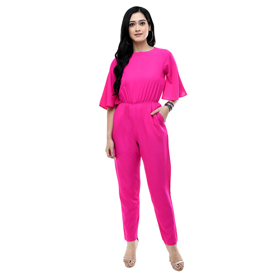 Women Pink Solid Crepe Basic Jumpsuit