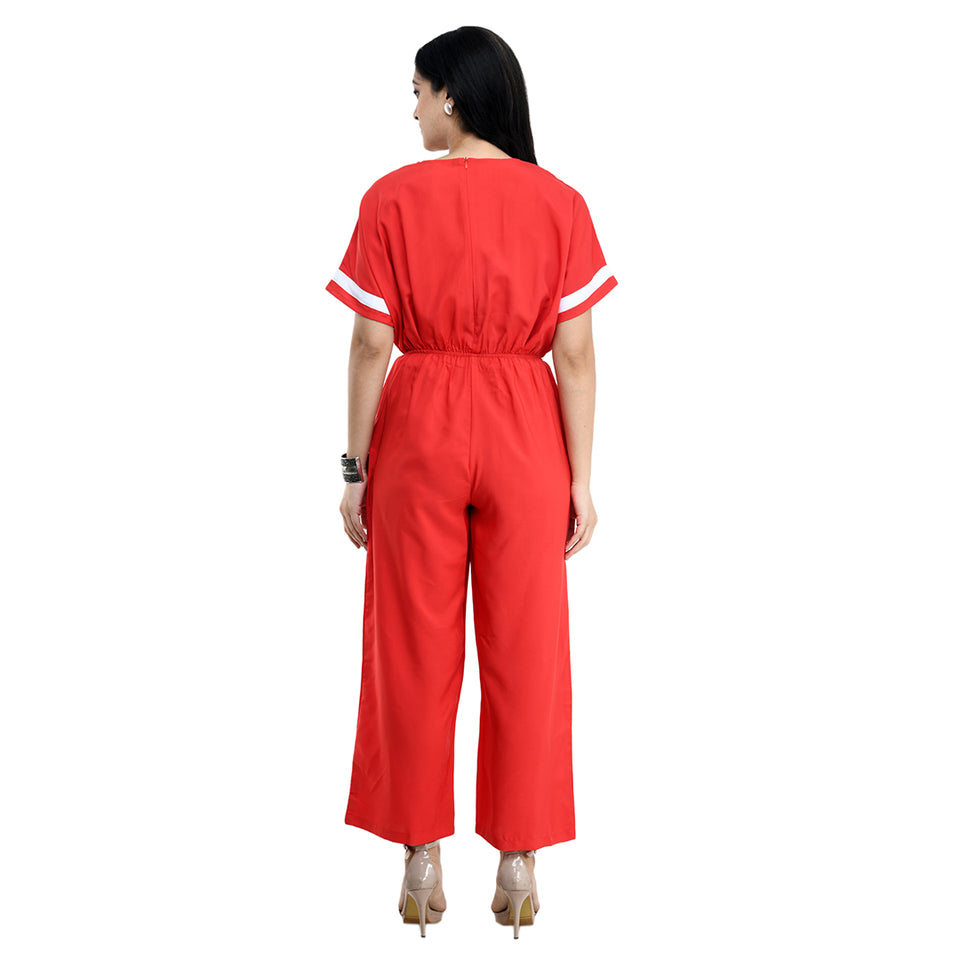 Women Red Solid Crepe Basic Jumpsuit