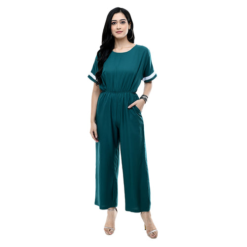 Women Teal Solid Crepe Basic Jumpsuit
