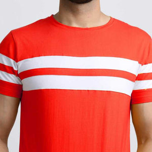Men Red Colourblocked Round Neck T-shirt