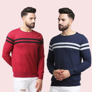 Set of 2 Colourblocked Round Neck T-shirt