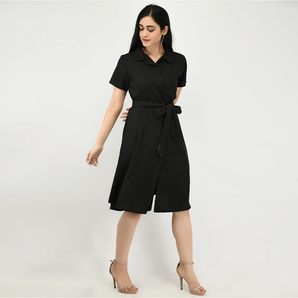 Women Crepe Shirt Black Dress