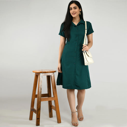 Women Crepe Shirt Green Dress
