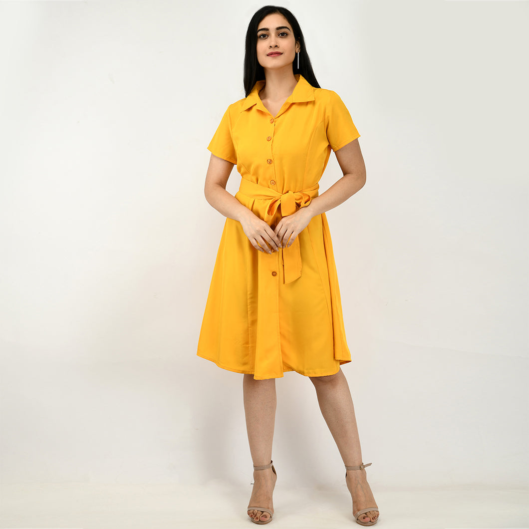 Women Crepe Shirt Yellow Dress