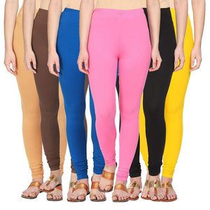 Combo Of 6 Cotton Lycra Leggings - Free Size
