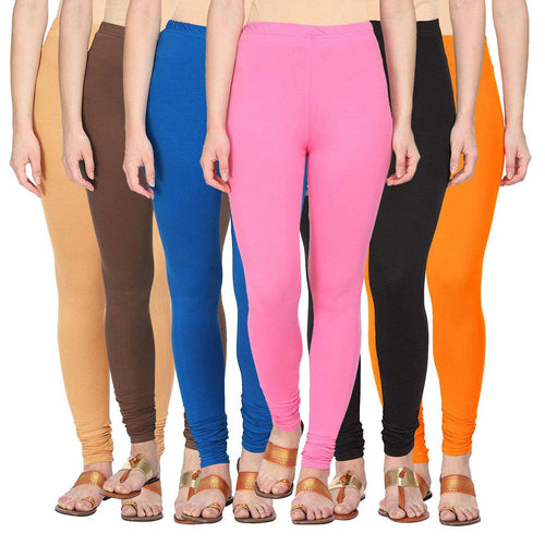 Pack Of 6 Cotton Lycra Leggings - Free Size